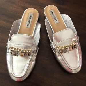 Steve Madden Metallic Silver Charm Loafers Shoes